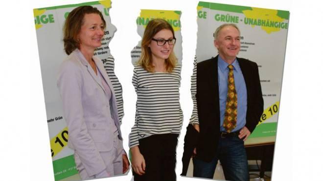 Esther Maag, Saskia Olsson und Jürg Wiedemann gründeten vor einem Jahr die Grünen-Unabhängigen. Montage: Marco Tancredi/Foto: Michael Nittnaus