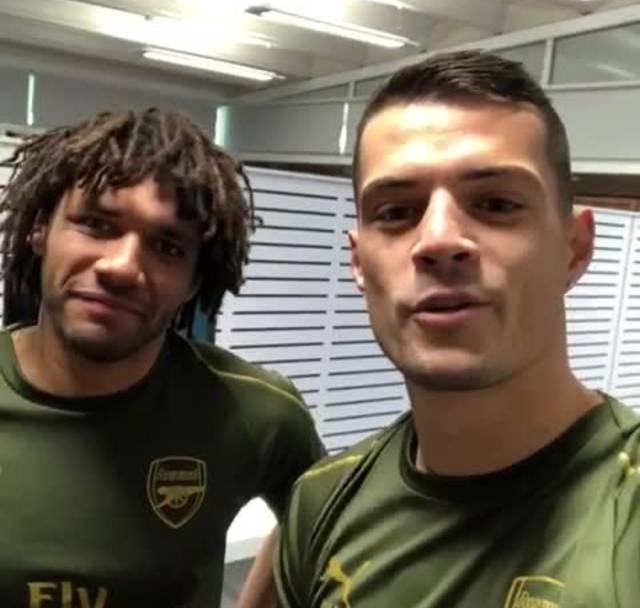 Granit Xhaka und Mohamed Elneny gratulieren dem FCB zum Geburtstag