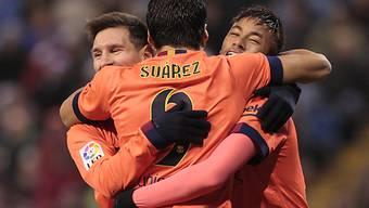 Messi, Suarez und Neymar feiern den Auswärtssieg in Bilbao
