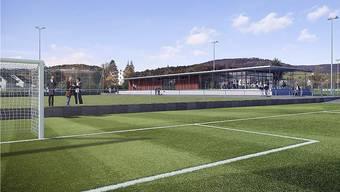 Visualisierung der neuen Sportanlage Breite mit Blick auf das neue Klubhaus des FC Erlinsbach.