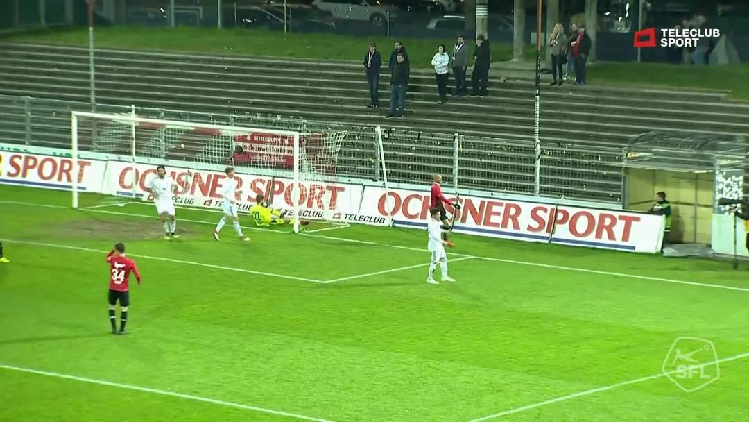 Challenge League 18/19 Runde 28: FC Aarau-FC Vaduz 6.4.19. Lattenschuss durch Linus Obexer (FC Aarau)