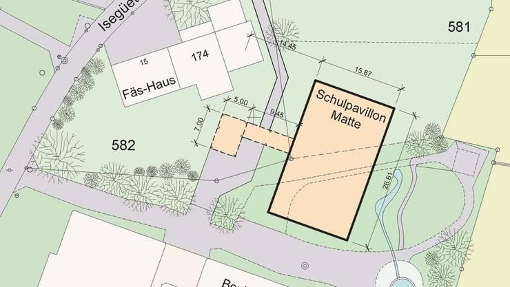 Der Schulpavillon soll neben dem Fäs-Haus aufgestellt werden.zvg