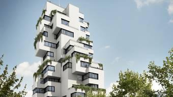 Mit rund 45 Metern Höhe und seinem speziellen Design wird der Turm das Bild von Münchenstein neu prägen.