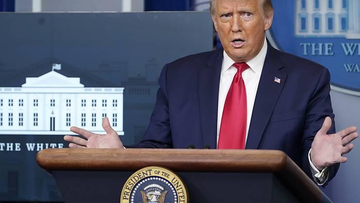 Donald Trump, Präsident der USA, spricht während einer Pressekonferenz im Weißen Haus. Foto: Susan Walsh/AP/dpa