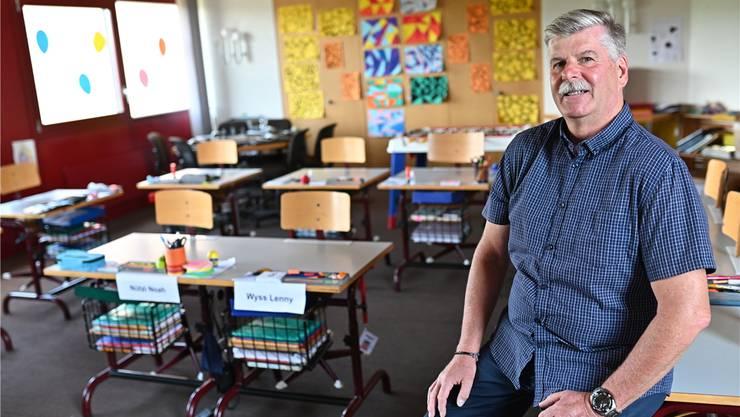 Walter Portmann verbringt die letzten Tage als Lehrer an der Primarschule in Wolfwil. Bruno Kissling
