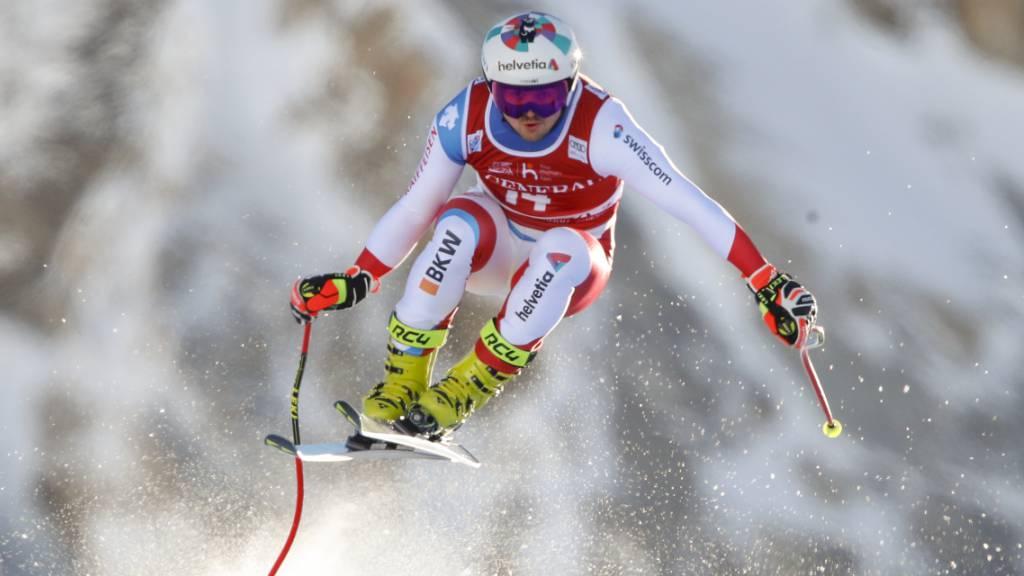 Urs Kryenbühl, zuvor im Weltcup erst einmal auf dem Podest, sensationell schnell unterwegs auf der Piste Oreiller-Killy in Val d'Isère