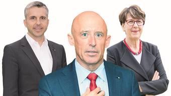 Sind dieses Jahr zurückgetreten: Pascal Koradi, Patrik Gisel und Susanne Ruoff (v.l.). Fotos: Spichale, Keystone, Heller