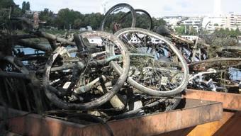 Geborgen: Unterhalb der Johanniterbrücke werden die gefundenen Fahrräder zur richtigen Entsorgung in Mulden gekippt. Manchmal sind auch Mofas darunter. zvg