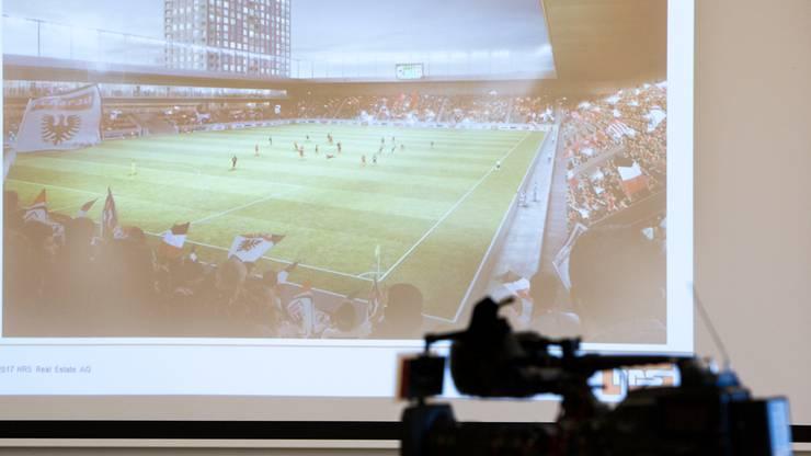 Medienkonferenz zum «Plan B» - Stadion und Hochhäuser.