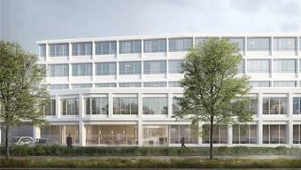 Die Visualisierung zeigt den Neubau der Hirslanden Klinik Aarau vom Viehmarkt her gesehen. ZVG/Schneider & Schneider Architekten