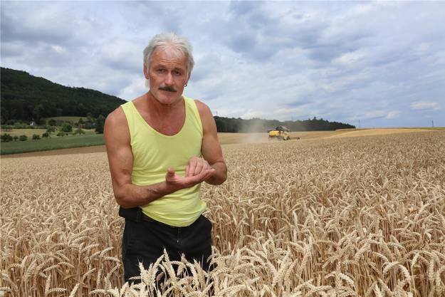 Alban Wyss bei der Kontrolle des Weizens.