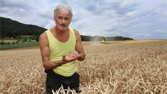 Mähdrescher von Alba Wyss auf einem Feld in Egerkingen
