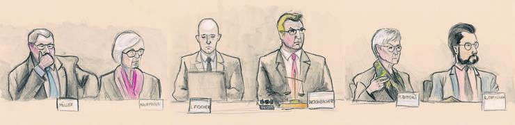 Das Bezirksgericht Lenzburg urteilte erstinstanzlich über Thomas N.: René Müller (SVP), Margrit Kaufmann (CVP), Gerichtsschreiber Lukas Fischer, Präsident Daniel Aeschbach (SVP), Marianne Bitterli (SVP) und Luca Cirigliano (SP).