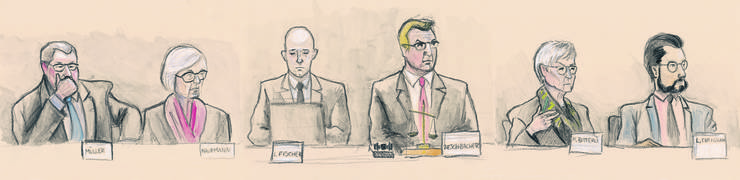 Das Gericht: René Müller (SVP), Margrit Kaufmann (CVP), Schreiber Lukas Fischer, Präsident Daniel Aeschbach (SVP), Marianne Bitterli (SVP), Luca Cirigliano (SP).
