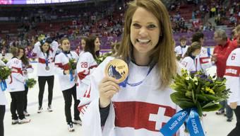 Eines der Highlights an den Olympischen Spiele in Sotschi: Bronze für die Schweizer Frauennati mit Torfrau Florence Schelling.