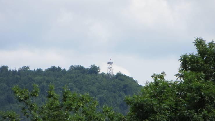 Der Aussichtsturm von Liestal. Es hatte bei schönem Wetter am 9. Juni 2013 viele darauf, ich meine auf dem Aussichtsturm. Bild wurde von unserem Haus in Frenkendorf gemacht.