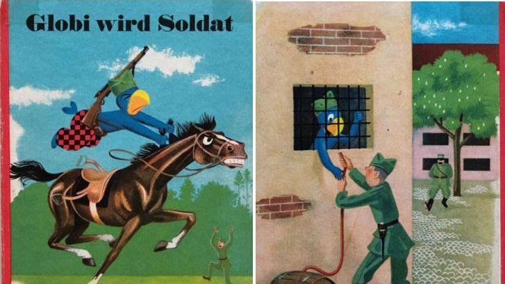 «Globi wird Soldat»: Links das Titelbild des Buchs von 1940.