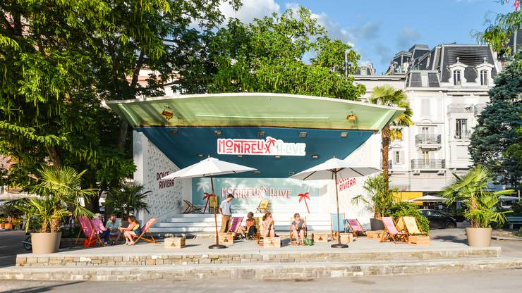 Liegestühle für das Strandfeeling: «Montreux A.Live». Copyright: Maude Rion/Montreux Riviera