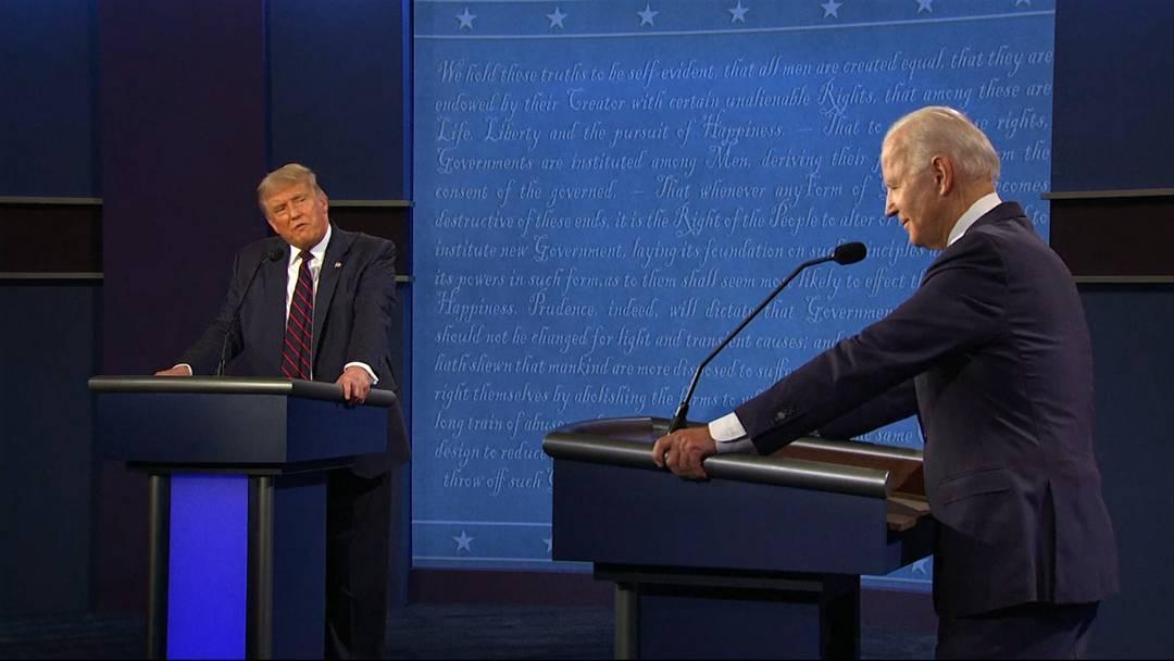 """""""Halt doch endlich die Klappe"""" - Chaos und Beleidigungen beim ersten TV-Duell von Trump und Biden"""
