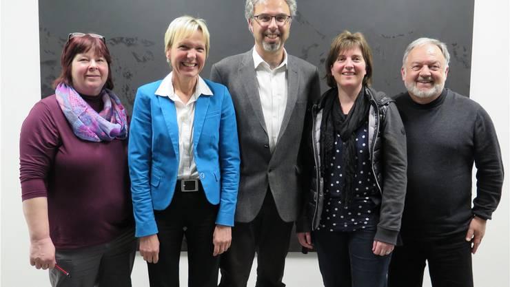 Der wiedergewählte Vorstand des kantonalen Verbands der Solothurner Musikschulen (von links): Silvia Guldimann (Geschäftsführerin), Irène Schori, Stephan Hug (Präsident), Sandra Rupp Fischer und Andreas Riss.