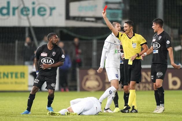 Serey Dié wurde gegen Lausanne, in seinem fünften Einsatz für den FCA, vom Platz gestellt.