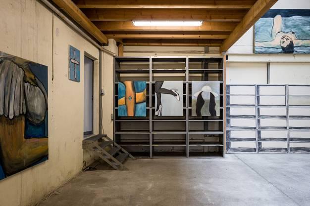 Peter Bossharts Malerei ist vor Ort in der Halle der Kraftwerkstätten entstanden.