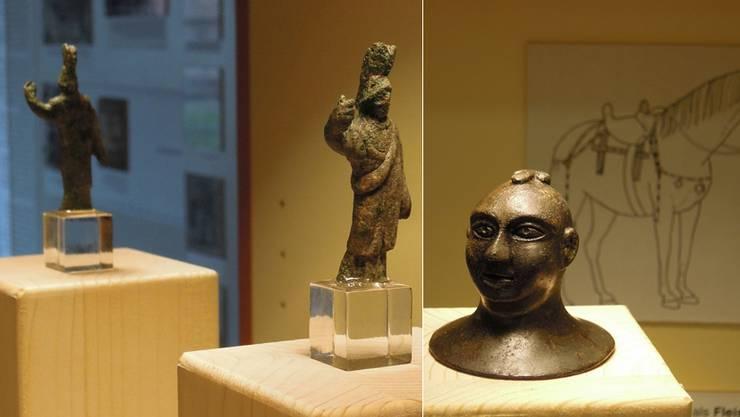 Erstmals sind die Minerva-Statuette und der Glatzkopf mit Peniskappe in Dietikon ausgestellt.