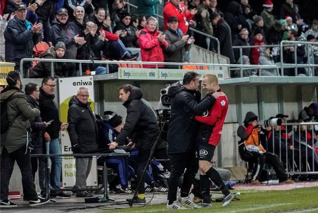 Spezielle Beziehung: Trainer Patrick Rahmen (l.) und Marco Schneuwly, Goalgetter mit vorübergehender Ladehemmung.freshfocus