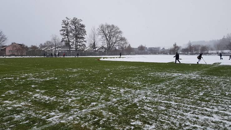 Schneeschaufelnde Fans im Brügglifeld