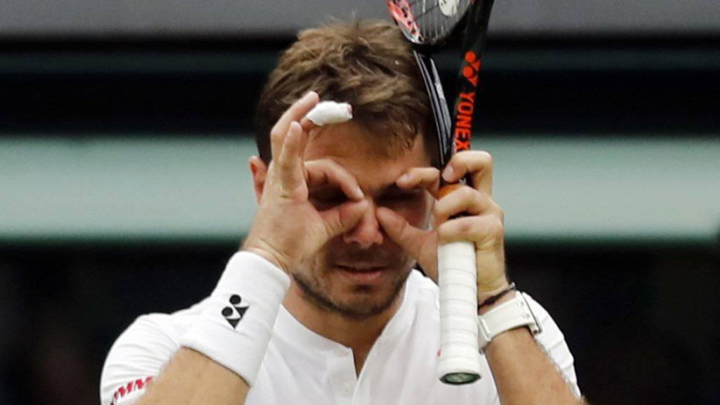 Nicht zum Hinsehen: Stan Wawrinka erlebte am Freitag in Wimbledon keinen guten Tag