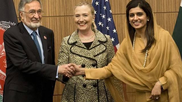 Der afghanische Aussenminister Zalmai Rassoul, US-Aussenministerin Hillary Clinton und Pakistans Aussenministerin Hina Rabbani Khar