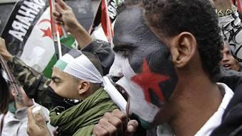 Einige Demonstranten erschienen mit bemalten Gesichtern