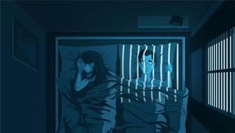Schlaflose Menschen fühlen sich vielfach isoliert und wie gefangen. Dabei gilt: Wer wach liegt, soll das Zimmer verlassen. Illustration: Christina Baeriswyl