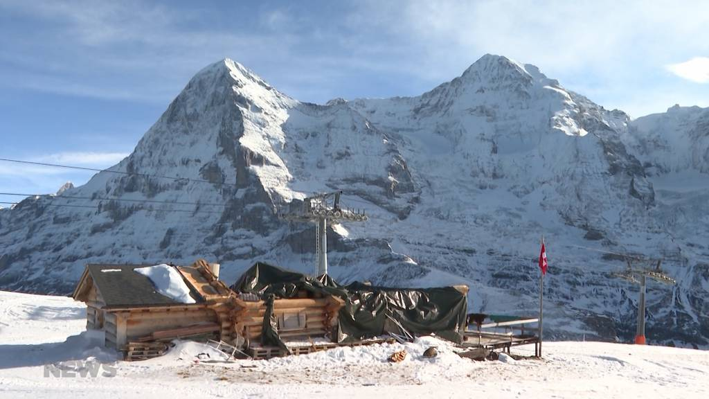 Nach Sturm auf dem Lauberhorn: Startbar erhält provisorisches Flachdach