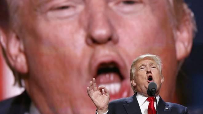 Den Mund voll genommen: Präsidentschaftskandidat Donald Trump (hier am Konvent der Republikaner in der Quicken Loans Arena) sorgt mit seinen sexistischen Äusserungen für einen neuerlichen Skandal. Foto: Keystone