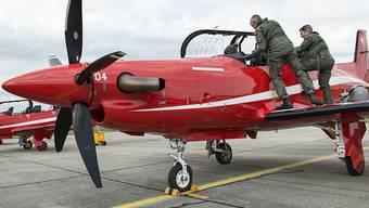 Verbot für das Support-Angebot von Pilatus in Saudi-Arabien und den arabischen Emiraten: Ein Schulungsflugzeug PC-21, hier in Emmen LU.  (Archivbild)