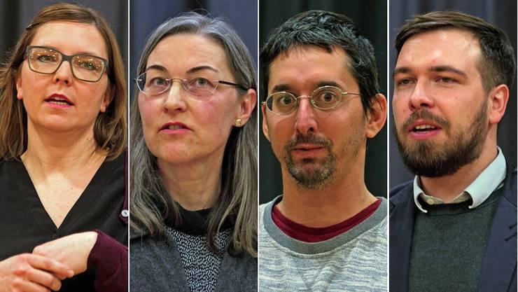 Schulpflege-Kandidatinnen und -Kandidaten: Franziska Zimmerli Huber (SP), Sabine Wyss (parteilos), Nikolaus Senger (parteilos), Michael Schibli (CVP).