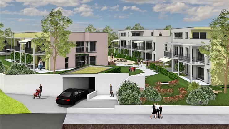 Die Visualisierung zeigt die drei geplanten Mehrfamilienhäuser mit der Einfahrt zur Tiefgarage.