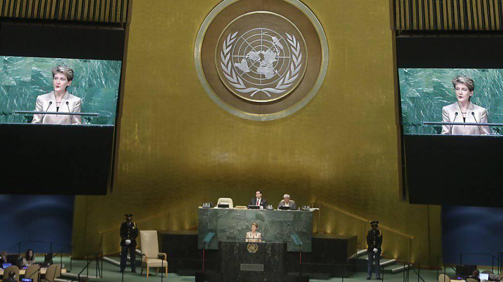 Gemeinsam Lösungen suchen: Bundespräsidentin Simonetta Sommaruga spricht vor der 70. UNO-Vollversammlung