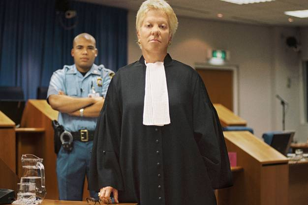Carla Del Ponte 2003 beim Prozess gegen Slobodan Milosevic.