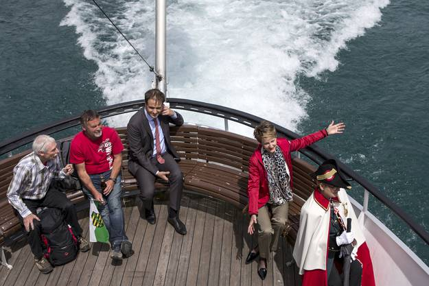 Bundespräsidentin Simonetta Sommaruga ist mit dem Schiff unterwegs zur 1.-August-Feier 2015 auf dem Rütli.