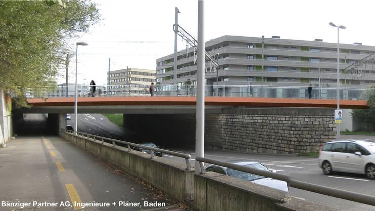 Die braunrote Farbe wird die Velobrücke von der bestehenden Eisenbahnbrücke abheben. Sicht vom Kreuzplatz her.Bänziger Partner AG, Baden