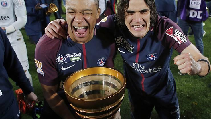 Kylian Mbappé und Edinson Cavani von Paris Saint-Germain können sich über den nächsten Titel freuen (Archiv)