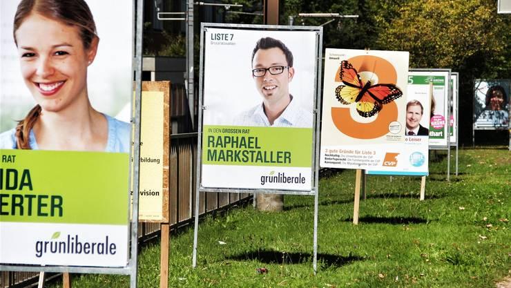 Im Aargau spriessen wieder Wahlplakate aus dem Boden. Christoph Voellmy