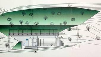 Das neue Münchwiler Wasserreservoir wird schonend in die Umgebung im Wald eingepassen: Eingangsfront des Schieberhauses (links) sowie des Feuerwehrdepots werden lediglich sichtbar sein, wie diese Illustration zeigt. – Visualisierung: ksl