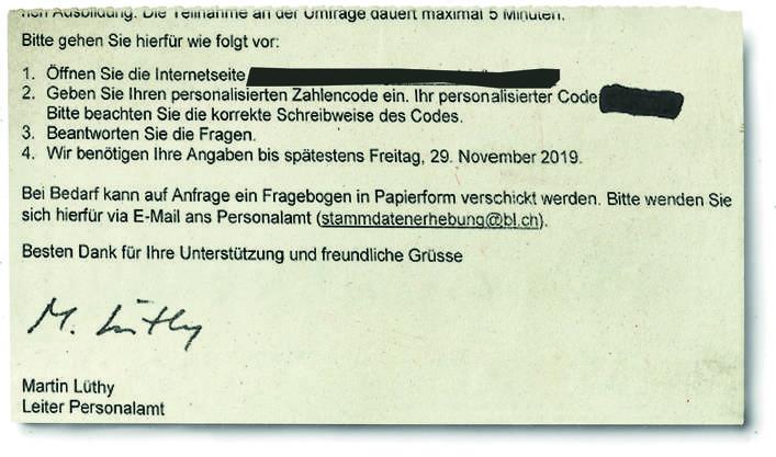 Der Brief, der an die Angestellten der Verwaltung verschickt worden ist.