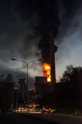 Auf dem ehemaligen Borregaard-Areal brannte am 12. November 2013 ein Kunststofftank