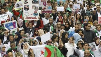 Haben genug von Bouteflika und der alten Politikerkaste: Protestierende auf den Strassen von Algier.