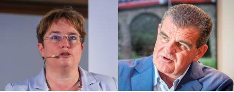 Holen ihre Mitarbeiter ins Büro zurück: Magdalena Martullo-Blocher (links) von Ems-Chemie und Peter Spuhler von Stadler Rail.