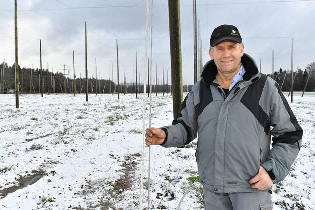 Bio-Pionier Erwin Ackermann im Aaregäu baut schon seit Jahren Hopfen an und hat nun die Anlage weiter erweitert.